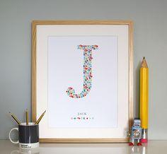 Monogrammed artwork for children