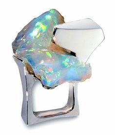 "THIERRY VENDOME- Paris. ""Iceberg Ring"". White gold & opal. Bague or blanc et opale."