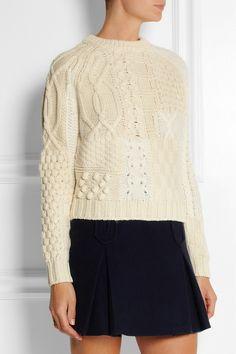 Carven|Two-tone merino wool-blend sweater|NET-A-PORTER.COM