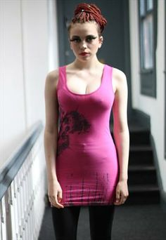 Punk Grunge Pink Eyes Motif Dress from Pretty Disturbia £15