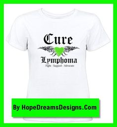 Cure Lymphoma shirts and apparel with a cool tattoo design and a lime green ribbon by hopedreamsdesigns.com