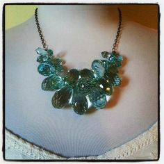 50 OFF Aqua Statement Necklace Teal Chunky Necklace by waterwaif