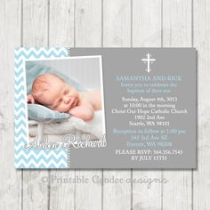 Baby boy or girl baptism christening invitations diy printable blue and grey baptism invitation chevron baptism invitation boy christening stopboris Images