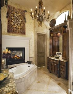 love the fireplace by the bathtub