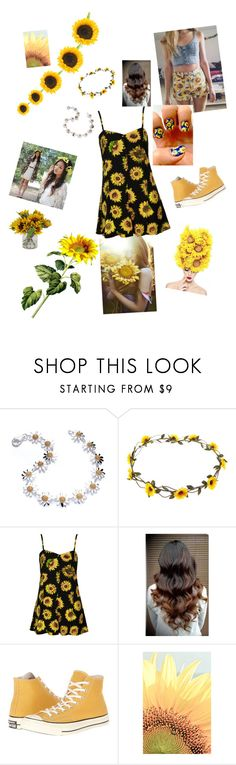 """SUNFLOWERS ANYONE?"" by super16 ❤ liked on Polyvore featuring Daisy Jewellery, claire's, Motel and Converse"