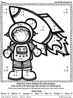 math worksheet : color by subtracting numbers  to print  pinterest  worksheets  : Color By Subtraction Worksheets