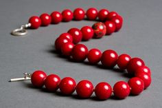 Red Stone Necklace with Vintage Chalcedony Dolomite by RedChair, $62.00