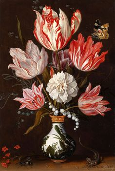 """Balthasar van der Ast """"Still Life of Variegated Tulips in a Ceramic Vase, with a Wasp, Dragonfly, Butterfly and Lizard"""" 1625   Balthasar van der Ast (1593/94 – 1657) Dutch Golden Age painter.     oil on oak panel  Private collection"""