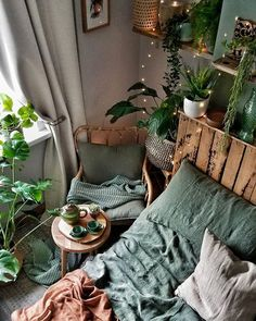 [New] The Best Home Decor (with Pictures) These are the 10 best home decor today. According to home decor experts, the 10 all-time best home decor. Room Ideas Bedroom, Bedroom Decor, Sage Bedroom, Room With Plants, Cute Room Decor, Boho Room, Aesthetic Room Decor, Green Rooms, Cool Rooms