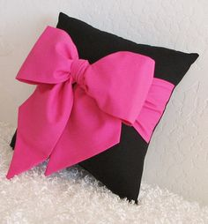 Pink and Black Bow Accent Throw Pillow 1 12 x by pillowsbycindee, $20.00
