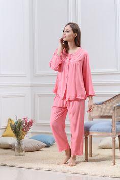 Women Sling Nightgown Strawberry Printing Sleepwear Pleated Ruffled Hem Pajamas