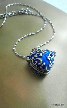 "Elegant Blue Heart Shape ""Wish Box"" Necklace. Starting at $1 on Tophatter.com!"