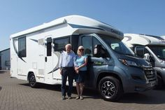 Susie & Verrian are pictured taking delivery of their New Chausson 738 XLB from us. They are from East Sussex and they bumped into Shane, at the NEC Birmingham Motorhome Show in October last year. East Sussex, Motorhome, Birmingham, Recreational Vehicles, October, Delivery, Model, Rv