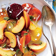 Peach Salad with Tomatoes and Beets | Cooking Light #myplate #fruit #veggies #dairy