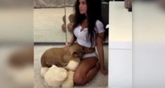 a hot girl video turned into a fail lion king ending scene reenactment.