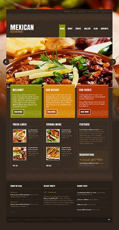Mexican Restaurant WordPress Themes by Hermes Website Menu Design, Restaurant Website Design, Restaurant Website Templates, Website Design Inspiration, Menu Restaurant, Restaurant Recipes, Website Ideas, Nice Website, Food Website
