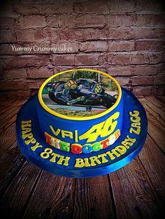 Valentino rossi cake Buttercream Filling, Chocolate Buttercream, Vale Rossi, Motorcycle Cake, Marshmallow Cake, Dad Cake, Edible Printing, Valentino Rossi 46, Chocolate Sponge