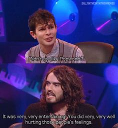 Panel Shows - Russell Brand and Simon Amstell: Popworld. Never mind the Buzzcocks British Humor, British Comedy, Funny Pics, Funny Stuff, Hilarious, 8 Out Of 10 Cats, Simon Amstell, Mock The Week, Russell Howard