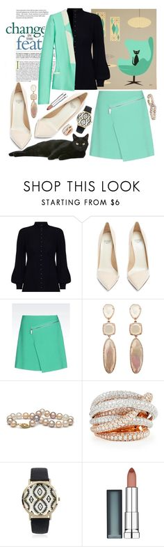 """Teal & Black Cat"" by sachi-grl ❤ liked on Polyvore featuring Zimmermann, Francesco Russo, The Row, Roberto Coin, Journee Collection and Maybelline"