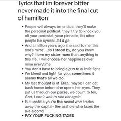 When you have memorized every song in the soundtrack, including the deleted ones, you are a true hamilfan