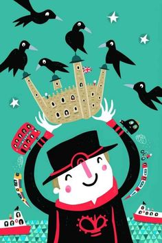 The Guardians of the Tower - Nathan Reed London Illustration, Travel Illustration, Illustration Styles, Tower Of London, London Art, London Life, London Drawing, Transport Museum, Vintage London