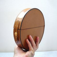 Vintage Round Leather Clutch