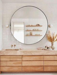 Neutral Bathroom, Bathroom Red, Ikea Bathroom, Bathroom Wallpaper, Bathroom Storage, Bathroom Organization, Bathroom Ideas, Master Bathrooms, Round Bathroom Mirror