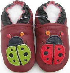 carozoo ladybug dark red 5-6t new soft sole leather kid shoes