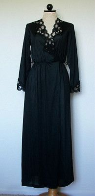 INNER MOST Sears Black Lace Trim Nylon Dressing Gown Robe- Small