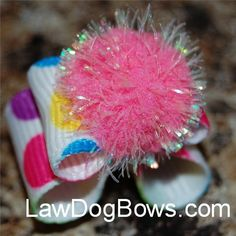 Cute dog bows  love the use of pom-pom!