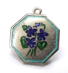 Vintage Silver & Enamel TLMott Flower Charm Violet MARCH