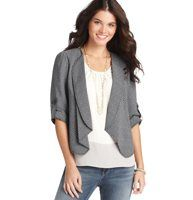 """Draped Crepe Open Front Jacket - Detailed with an effortlessly chic shawl collar - and roll tab trim at the cuffs - this expertly draped jacket is the essence of casual cool. Shawl collar. Elbow sleeves with roll tab trim. Open front. Lined. 20 3/4"""" long."""