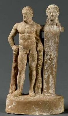 Herakles leaning on Herm bust - Hellenistic statuette, terracotta, circa century BC, at the Louvre Museum Ancient Greek Art, Ancient Greece, Ancient History, Roman History, Art History, Classical Greece, Hellenistic Period, Greek And Roman Mythology, Art Antique