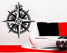 Wall Decals Nautical Compass Rose Navigate Ship by VinylDecals2U