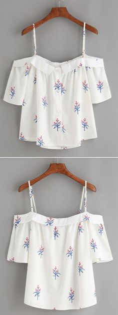 White Fold Over Cold Shoulder Flower Print Top - Daily Fashion Outfits Casual Wear, Casual Outfits, Summer Outfits, Cute Outfits, Look Fashion, Teen Fashion, Fashion Outfits, Womens Fashion, Fashion Heels