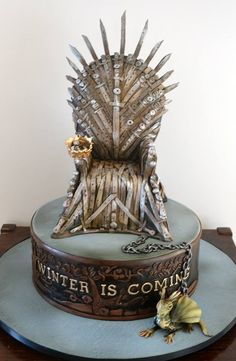 Game of Thrones iron throne and dragon cake by Sweet Ruby Cakes