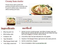 Slimming World Recipes, Food Print, Ham, Risotto, Protein, Diet, Meals, Shell, Shopping