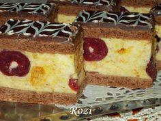Rozi Erdélyi konyhája: Konyakmeggyes szelet Hungarian Recipes, Hungarian Food, Kaja, Vanilla Cake, Cheesecake, Cooking Recipes, Food And Drink, Ethnic Recipes, Cukor