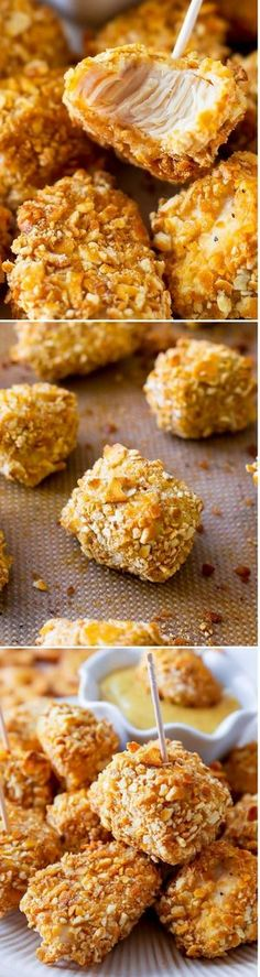 Pretzel Crusted Chicken Bites. Perfectly crunchy outside, easy to eat, full of delicious flavor, these are a crowd pleaser!