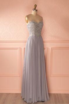 Emora Mystère - Gray sparkly bust prom dress