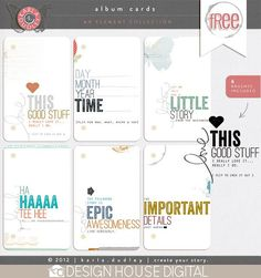 Project Life Freebies for your memory keeping.  Journal card inspiration.