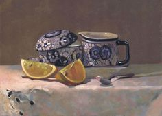Still life in oils with French tea set and lemons