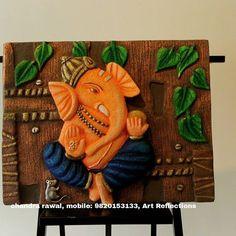 Clay Wall Art, Mural Wall Art, Mural Painting, Ceramic Painting, Diy Painting, Ceramic Art, Ganesha Painting, Ganesha Art, Ganesh Rangoli