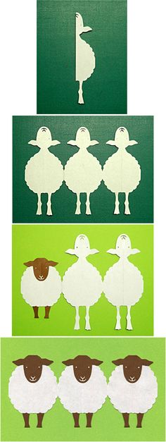 sheeps. Japanese kirigami (Cutting Paper) by Syandery