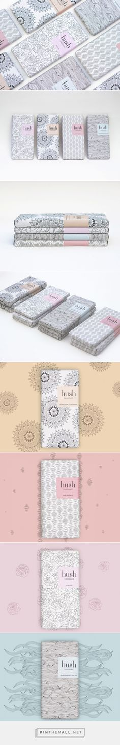Hush Chocolate via Packaging of the World by Claire Hartley london, UK  curated by Packaging Diva PD.  Brand promise to 'Escape the noise'. Each experience to be a moment of blissful tranquility, to indulge and imagine a life free from the stresses of every day. Yumm chocolate : )