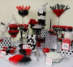 Find this Pin and more on Wedding. Rockabilly wedding black white and red  sweet buffet candy bar