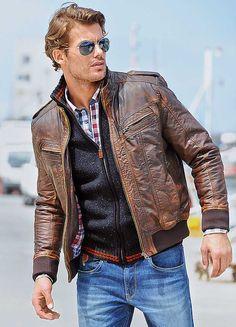 Rhode Island Worn Look Leather Jacket