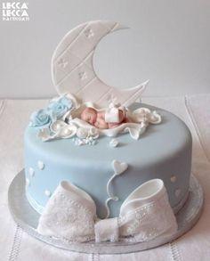 Idéias de lindos bolos para chá de revelação do sexo do bebê 43