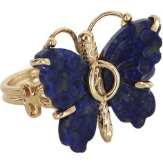 Pre-Owned Butterfly Cocktail Ring Vintage 14k Yellow Gold ($495) ❤ liked on Polyvore featuring jewelry, rings, yellow gold, gold cocktail rings, gold jewelry, 14k gold ring, gold ring and yellow gold rings