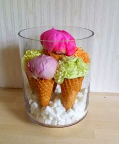 Flower ice cream cones